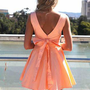 Peach Sleeveless Mini Dress with Oversized Back Bow
