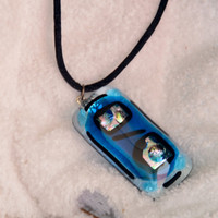 dichroic glass pendant necklace blue by eyeseesage on Etsy
