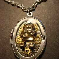 Upcycled Locket Necklace with a Robot and Gears set in Ice Resin (832)