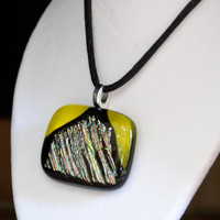 fused dichroic glass pendant necklace multicolor by eyeseesage