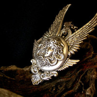 Silver Medusa and Angel Wings Gothic Pendant by LeBoudoirNoir