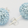 Swarovski crystal pavé&sterling silver stud earrings-6mm shamballa disco ball