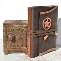 Handmade Leather Bound Western Journal Texas Ranger Copper Lone Star Travel Map Diary Art Notebook (146)