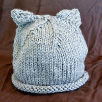 Infant Gray Cat Ear Hat Ready to Ship by SunshineRoseDesign