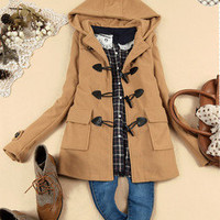 Sweety Womens Winter Duffle Coat Outwear Jacket Hooded Casual Solid Top