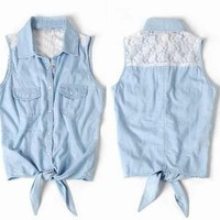 Lace Vest Sleeveless Shirt with Tie Front