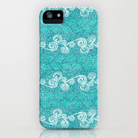 Teal Glitter Pattern iPhone Case by Kayla Gordon | Society6