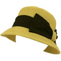 Ladies UPF 50 Beach Summer Sun Cloche Bell Bucket Big Ribbon Bow Hat Natural