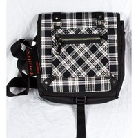 Amazon.com: Black Plaid Messenger Bag Punk Rock School Gothic Vamp: Clothing