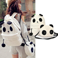 Panda Canvas Backpack w/ Panda Shoulder Bag