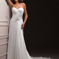 Ivory Gathered Floral Chiffon Sweetheart Strapless Zabrina Destination Wedding Dress - Unique Vintage - Cocktail, Evening & Pinup Dresses