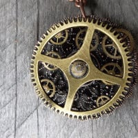 Clockpunk Steampunk Pendant Necklace, Brass Watch Gear on Cable Link Matinee Chain
