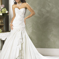 2012 Maggie Sottero Bridal - White Embroidered Taffeta &amp; Lace Sweetheart Strapless Jovi Wedding Gown - 0 - 28 - Unique Vintage - Cocktail, Evening &amp; Pinup Dresses