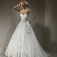 2012 Maggie Sottero Bridal - Ivory &amp; Pewter Organza &amp; Lace Floral Strapless Isadora Marie Wedding Gown - 0 - 28 - Unique Vintage - Cocktail, Evening &amp; Pinup Dresses