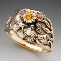 Gold Tide Pool Ring With Gemstones