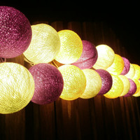 Candy Lemon Purple and Yellow tone mixed Hanging stringlights for party and home decoration indoor and outdoor (20 balls/pack)