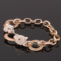 18K Rose Gold GP Swarovski Crystal Awesome Leapard Link Bracelet B220