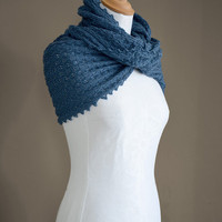 Knitted merino wool möbius scarf, cowl, snood, wrap in blue colour