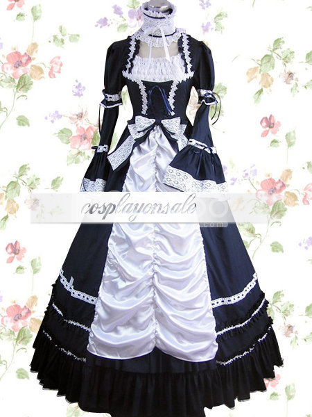 Black And White Lace Bow Cotton Gothic Lolita Dress