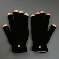 7 Mode LED Rave Light Finger Lighting Flashing Glow Gloves Black