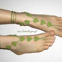 Barefoot Sandals in light olive green Valentine's Day by kroowka