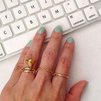 Double Finger Ring, Chain Linked Double Ring, Double Chain Ring