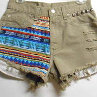 Vintage Tan  Levis  Denim Shorts Tribal Print  by Turnupthevolume