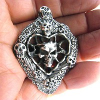 Valentine's Day Gift Skull Pendant Custom Valentine's Day of the Dead Necklace