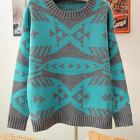Blue Pop Art Geometric Abstract Fish Bones Pattern Sweater from Showmall