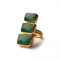 Verticle Three Small to Large Green Jade Stones Ring by toosis