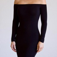 Black Cocktail Dress - Mariah Bodycon Off-Shoulder Jersey Dress | UsTrendy