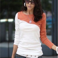 # Free Shipping # Women Orange Cotton Top One Size WO0384o