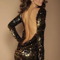 Black Sexy Dress - Black and Gold flip sequin | UsTrendy