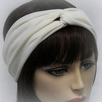 Creme Turban Head Wrap