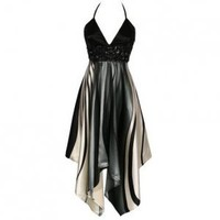 WOMENS BLACK SATIN HALTERNECK HANDKERCHIEF HEM EVENING COCKTAIL PROM PARTY GOWN DRESS UK 8, US 4