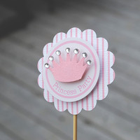 Princess Party Pink Cupcake Toppers with Bling by MLPaperCreations