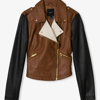 Colorblocked Faux Leather Jacket