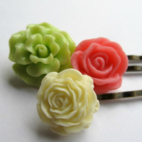 Flower hair pins, vintage style bobby pins in peony pink, linen and tender shoots green