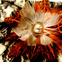 Feather Fascinator Earth Toned with Silver by FeatherFunded