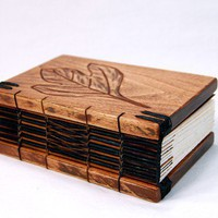 journal handmade carved leaf wood book  by ThreeTreesBindery