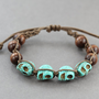 Skull Bracelet: Teal and Wooden Beaded Wrap Bracelet, Turquoise Semi Precious Stone Skull Beads, Adjustable, Yoga, Zen