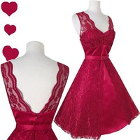 NEW 50s Rockabilly Pinup Prom PARTY Dress M Vtg Style Full Skirt BURGUNDY LACE