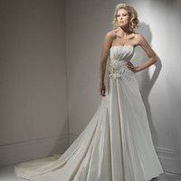 2012 Maggie Sottero Bridal - Light Gold Pleated Taffeta Floral Strapless Gail Wedding Gown - 0 - 28 - Unique Vintage - Cocktail, Evening  Pinup Dresses