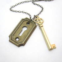 The Golden Key vintage key necklace with by LazyOwlBoutique
