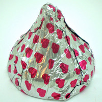 Milk Chocolate Kisses Wrapped in Silver Foil with Red Hearts - 4 Kisses - 2 oz each - 1/2 pound total