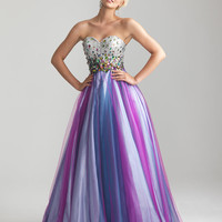 Purple Multi Rhinestone &amp; Tulle Strapless Sweetheart Prom Gown - Unique Vintage - Cocktail, Pinup, Holiday &amp; Prom Dresses.