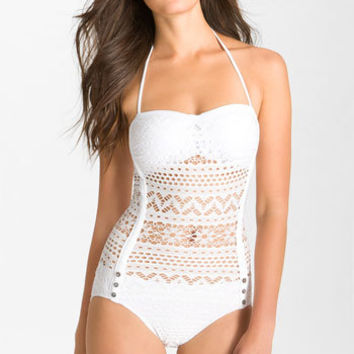 Women's Robin Piccone 'Penelope' Crochet Overlay One-Piece Swimsuit,