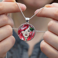 Pink Haired Girl with Bow 1 inch round glass art pendant by sacari