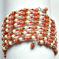 Memory wire Cuff Bracelet in Coral, Orange and White Beads