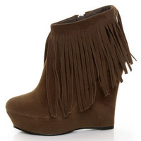Privileged Moslow-B Chestnut Fringe Wedge Booties